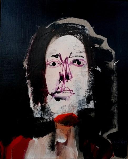 Jeune femme au Pyla, Serge Labégorre 2013 _ 41x33 cm 6F acrylique sur toile