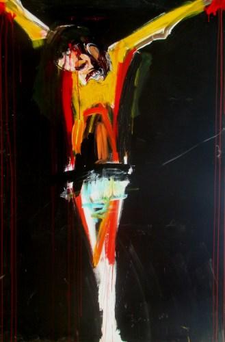 Le Christ jaune, Serge Labégorre 2010 _ 195x130 cm Acrylique sur toile