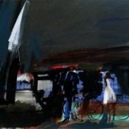 Le Lot à vélo, Serge Labégorre 1982_73 x 92 cm 30F acrylique sur toile