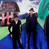 Les trois chapeaux, Serge Labégorre 2014_81x100 cm 40F acrylique sur toile