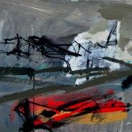 Libourne, les quais, Serge Labégorre 2015 _ 54x73 cm 20P axcrylique sur toile