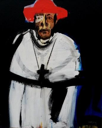 Pape au chapeau rouge_Labegorre 2014_100x81 cm_40F acrylique sur toile