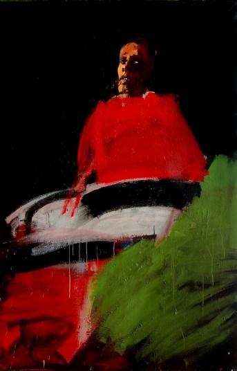 Pape rouge au fauteuil vert_Labégorre 2005_195x130 cm 120F acrylique sur toile