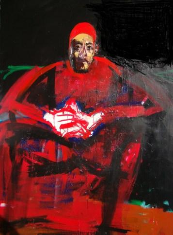 Pape rouge aux gants blancs, Serge Labegorre 2009 - 195x130 cm 120F acrylique sur toile