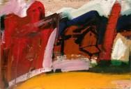 Petit fronton landais; Serge Labégorre 1972 _ 38x55 cm 10P acrylique sur toile