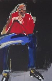 Portrait de Pierre Célice, Serge Labégorre 2014 _ 195x130 cm 120 F acrylique sur toile