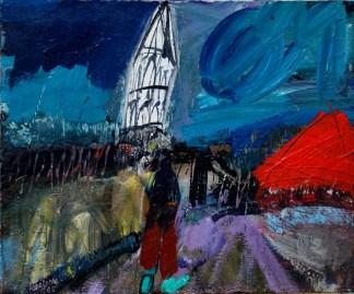 Saint-Aignan, l'église, Serge Labégorre 2005 _ 50x60 cm 12F acrylique sur toile