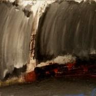 Sous la pluie, église et pont de Libourne, Labégorre 2010, 12F 50x61cm acrylique sur toile