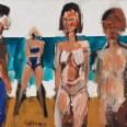Baignade à Seignosse, Serge Labégorre 1994, 54x73 cm 20P ab#03