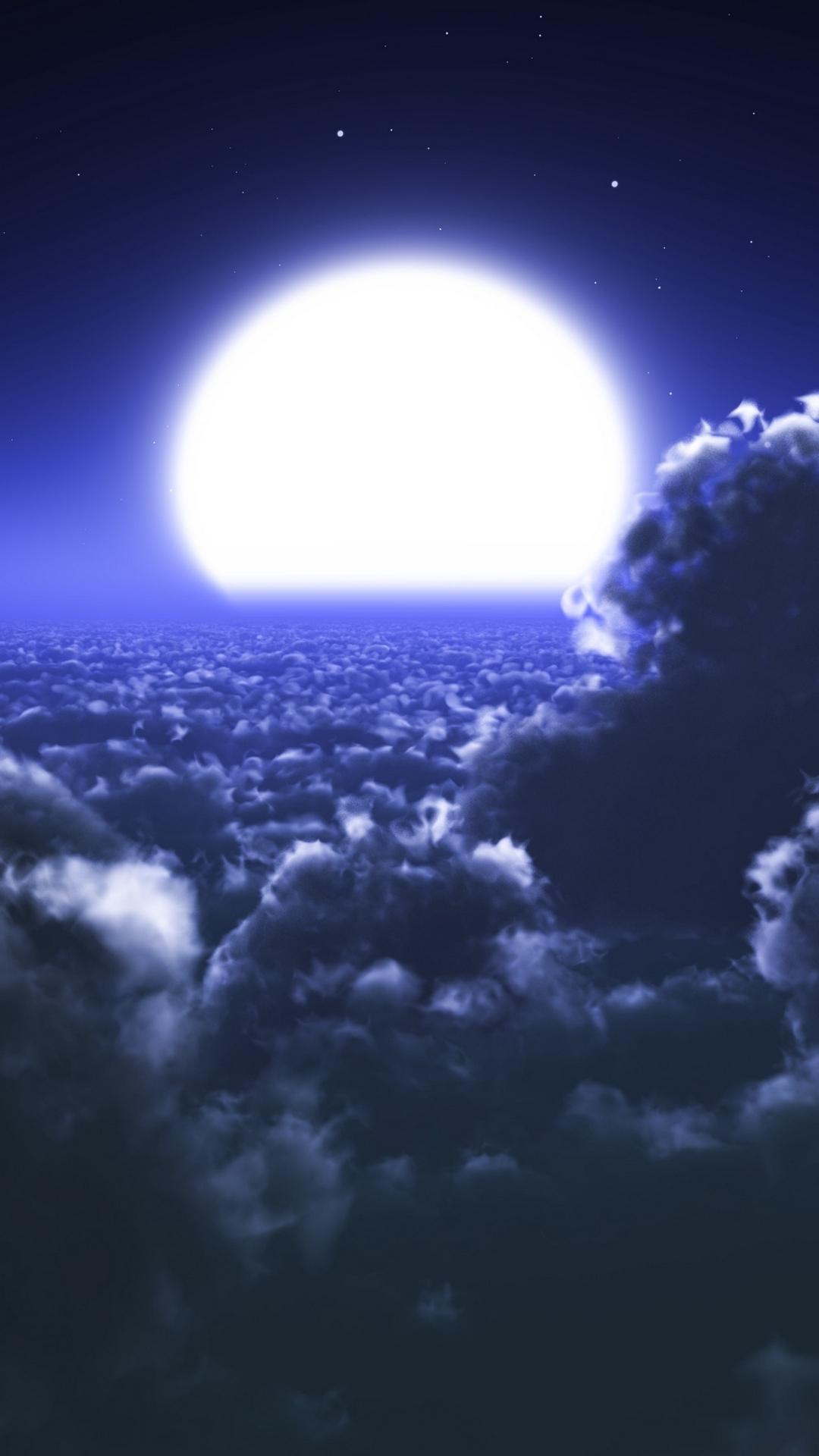 clouds moon sky wallpaper
