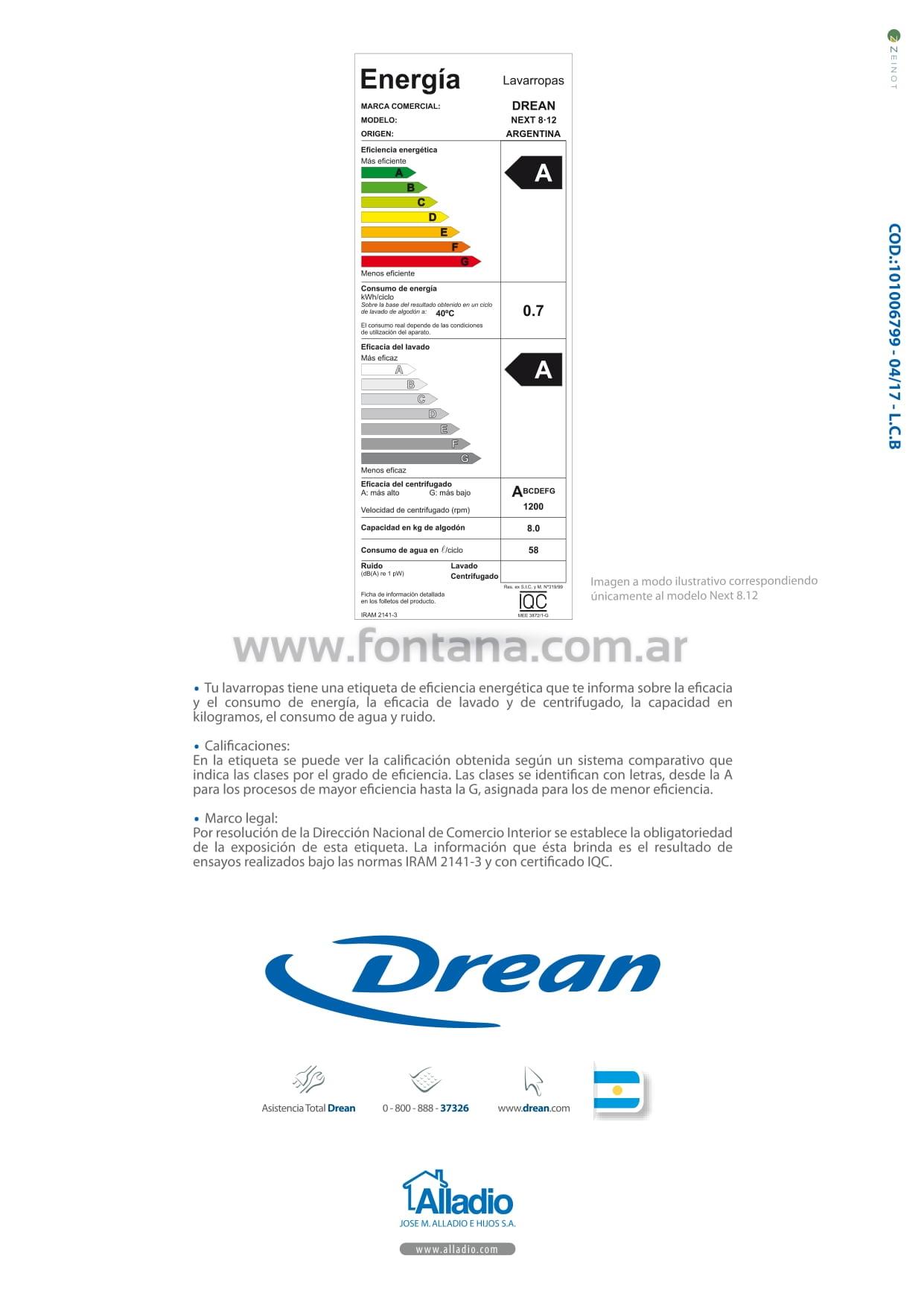 Manual de uso: Lavarropas Drean Next ( Sin Wifi )