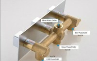 3 Dials 2 Ways Square Mixer Tap Chrome Brass Shower Valve