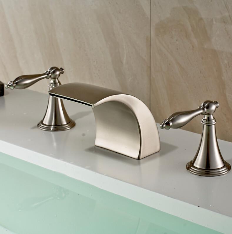 bilbao brushed nickel double handle deck mount widespread bathtub faucet