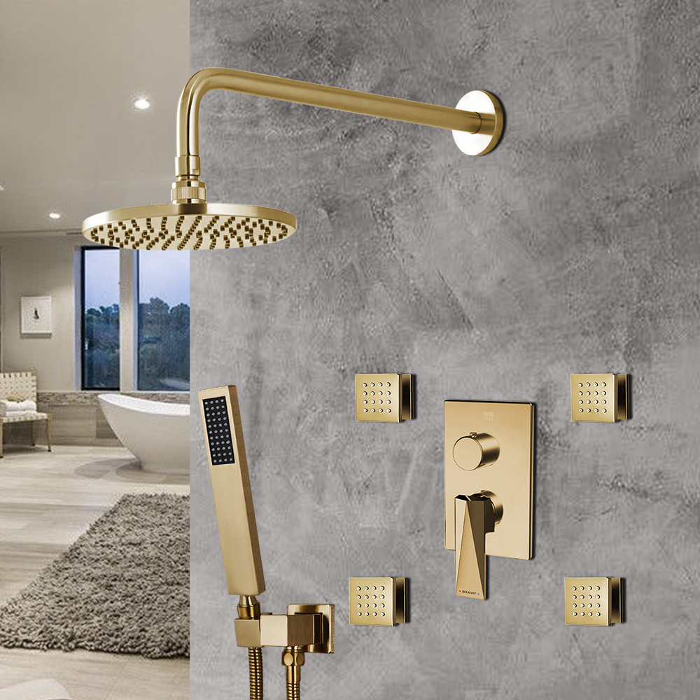 bravat brushed gold shower set with valve mixer 3 way concealed wall mounted