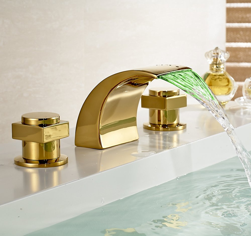 gold polished led waterfall bathroom sink faucet