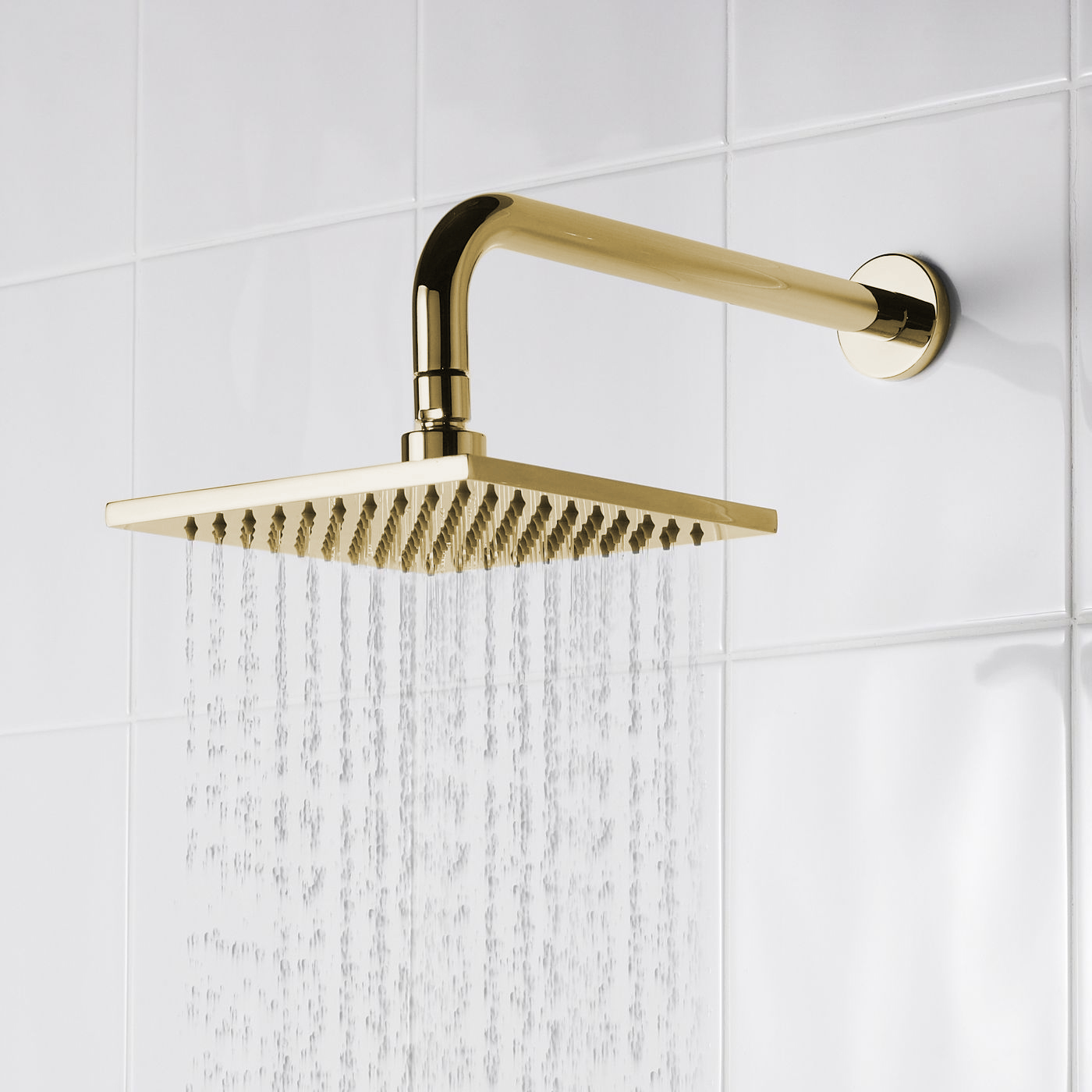 brushed gold square rainfall shower head