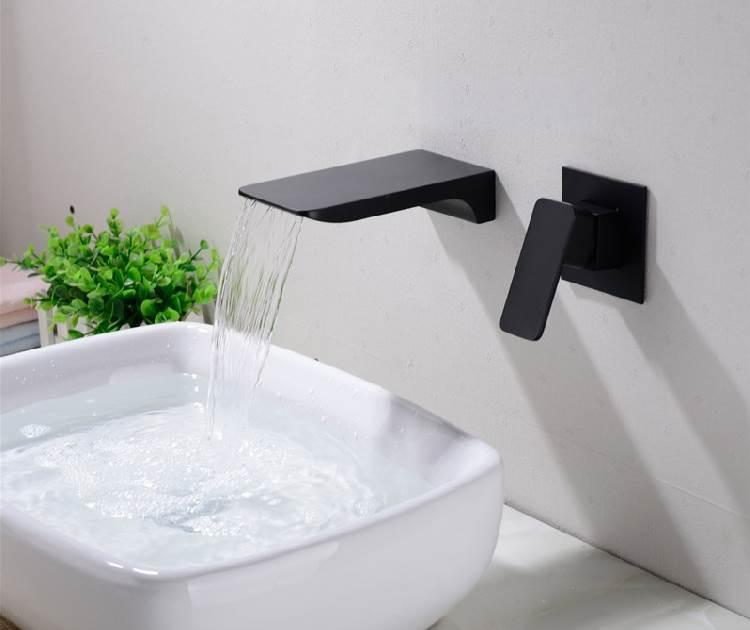 fontana napoli luxury wall mount dark oil rubbed bronze waterfall sink faucet