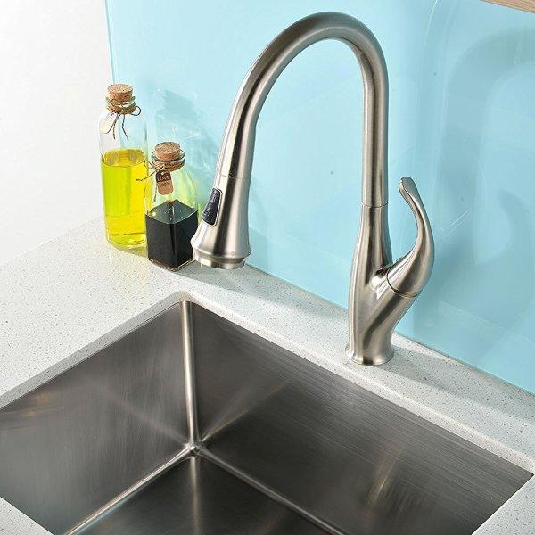 brushed nickel kitchen sink Moa Brushed Nickel Kitchen Sink Faucet