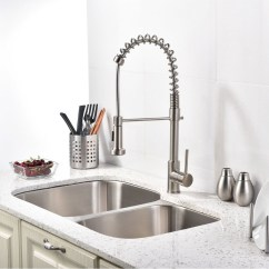 Brushed Nickel Kitchen Faucet With Sprayer Sink Repair Pull Down Quilmes
