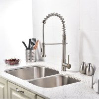 Brushed Nickel Kitchen Sink Faucet with Pull Down Sprayer