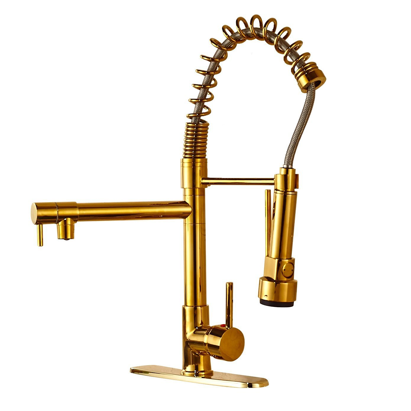 brass faucet kitchen 4 piece stainless steel appliance package venezuela gold finish sink with pull down