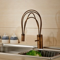 Led Kitchen Faucet Lowes Cabinet Hardware Contemporary Brass Mixer Single Lever Swivel Spout