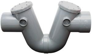 Sifon curvo con tapa de registro