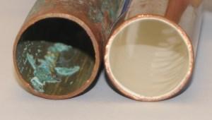 antes y despues tuberia de cobre