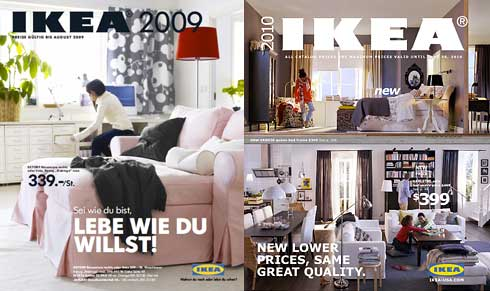 Ikeas old catalog with Futura (L) and new one employing Verdana (R)