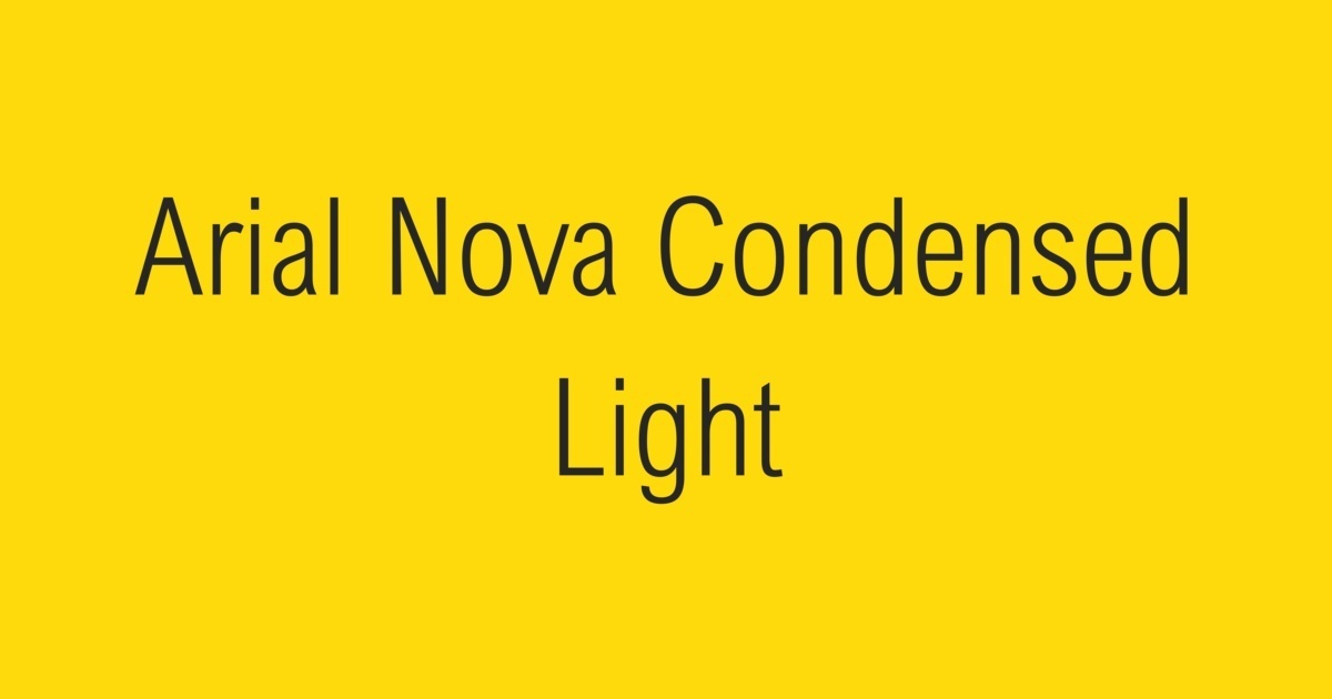 Arial Nova Condensed Light Fontshop