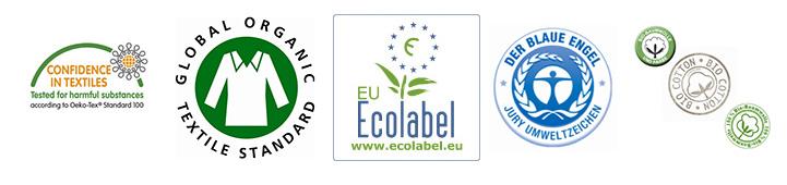 Hier die Siegel in Reihenfolge der Nennung: Oeko-Tex, GOTS, EU-Ecolabel, Blauer Engel und Biobaumwolle