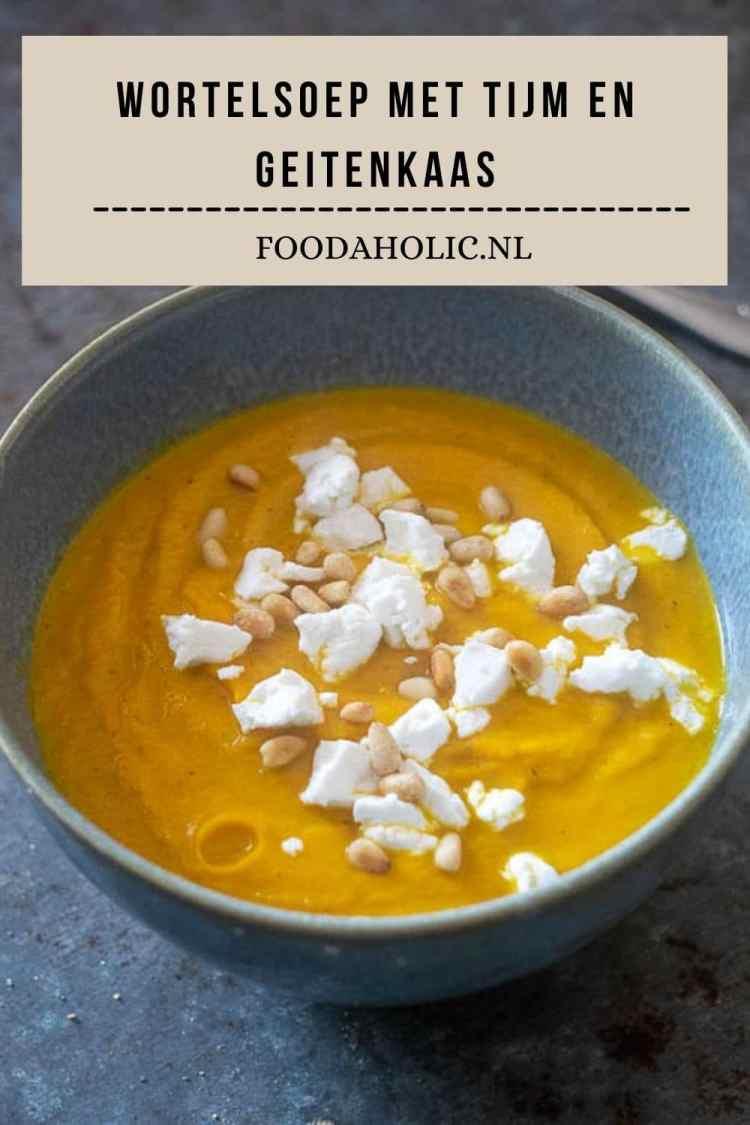 Wortelsoep met tijm en geitenkaas | Foodaholic.nl