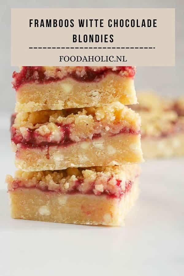 Framboos witte chocolade blondies | Foodaholic.nl