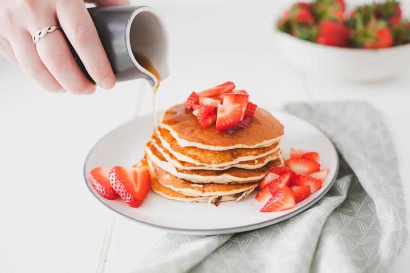 Ricottapannenkoeken met aardbeien
