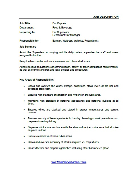 Waitress Job Description » Restaurant Manager Job Description