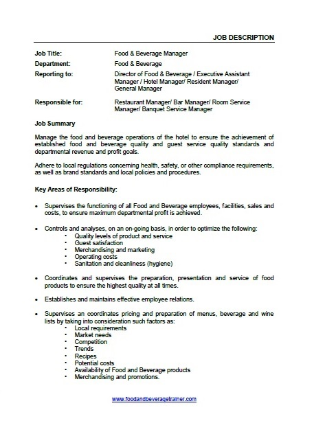Food Beverage Supervisor Performance Appraisal Job Descriptions