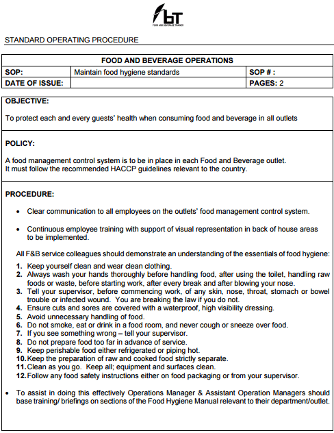 Sop food and beverage trainer for Standard operating guidelines template