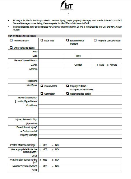 Incident report form