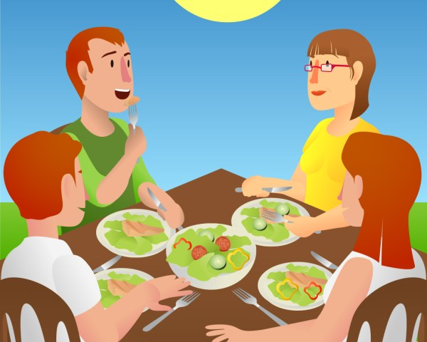 Families Eating Healthy Food Clip Art