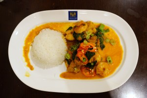 King Prawn Malabar Curry, Pollock, spinach, basmati rice
