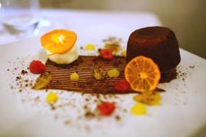 Chocolate and cointreau fondant, and rhubarb and elderflower cheesecake