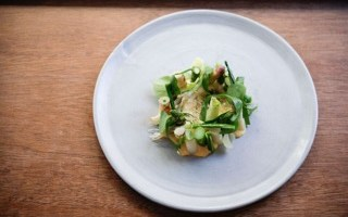 Recipe by Merlin Labron-Johnson: Grilled spring and winter vegetables with wild herbs and a hay-smoked egg yolk sauce
