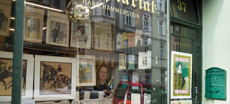Petra Hammerstein, in her antiquarian at Turkenstraße 37, Munich.