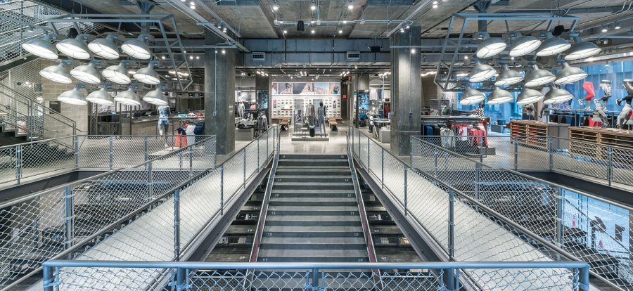 """Interior view from brand flagship store """"Adidas NYC"""" in New York"""