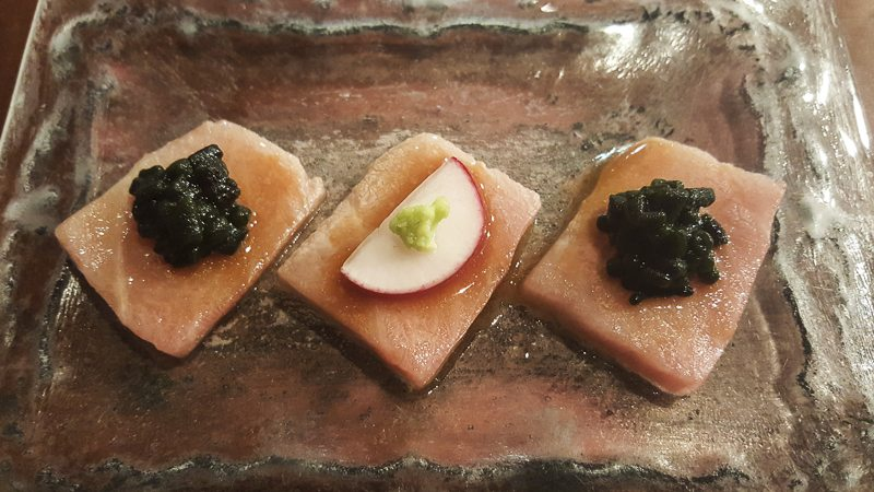 with codium seaweed, radish and wasabi, Dos Palillos