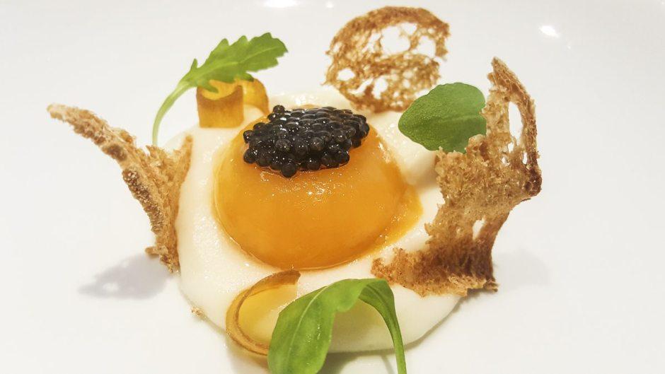 Egg yolk with caviar and botarga Angle