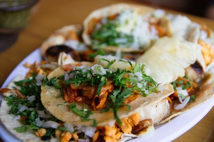 Popular street food - Tacos al Pastor in Mexico