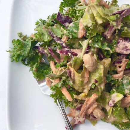 White Bean Kale Salad with Creamy Balsamic Dressing