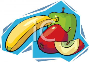 banana and sliced apples clipart