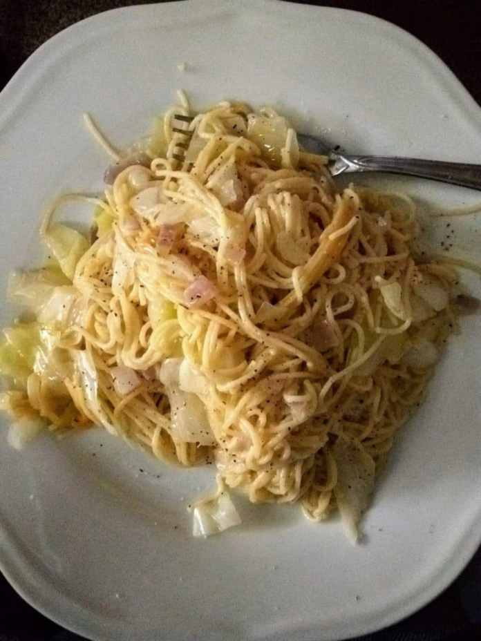 Angel hair pasta with cabbage and onions